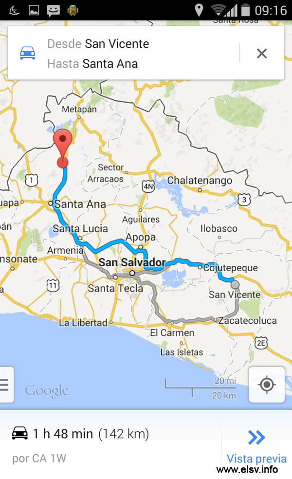 Uso de Google maps en El Salvador con asistente