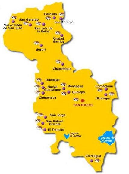 Imagen con el Mapa de San Miguel El Salvador