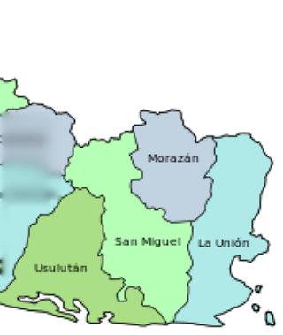 Mapa con los departamentos de la zona oriental para imprimir