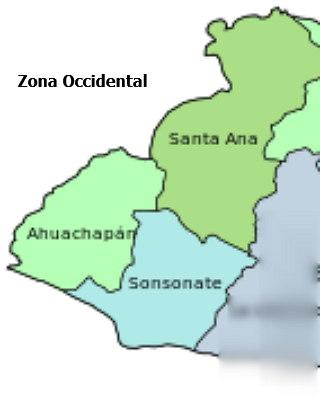 Mapa con los departamentos de la zona occidental de el salvador para imprirmir