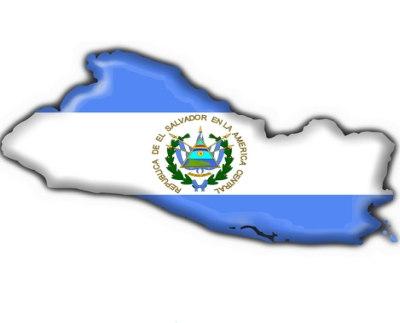 Bandera De El Salvador con el pais