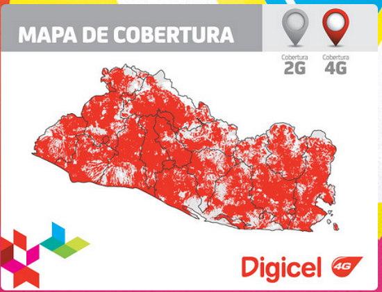 Mapa 4G digicel El Salvador