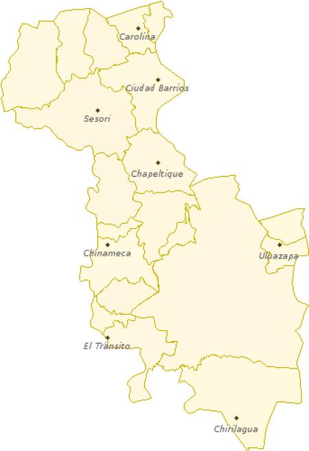 mapa de El salvador con divisiones de los municipios