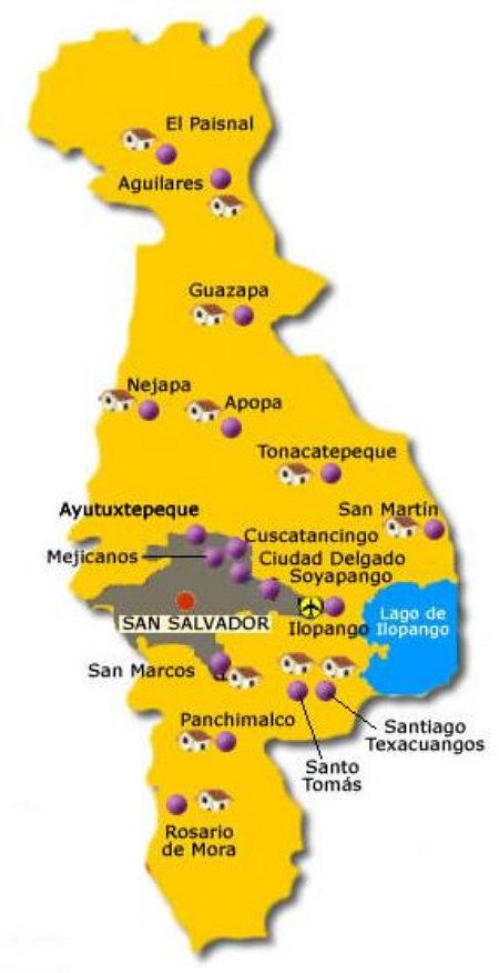mapa de San salvador con nombre de municipios