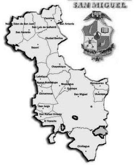 mapa de san miguel blanco y negro, para colorear
