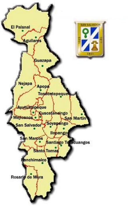 Mapa de San Salvador con división de municipios