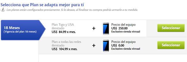 Samsung Galaxy s7 con Tigo El Salvador planes
