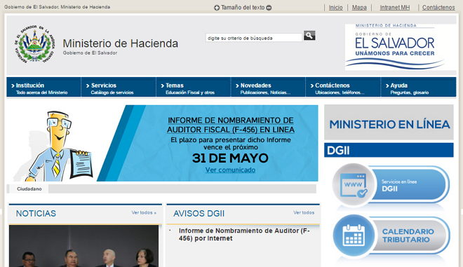 Ministerio de hacienda el salvador Ministerio del interior pagina oficial