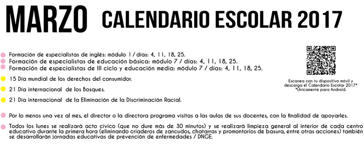 003 marzo calendario escolar 2017
