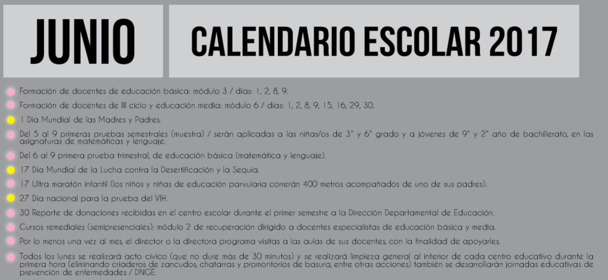 006 junio calendario escolar 2017