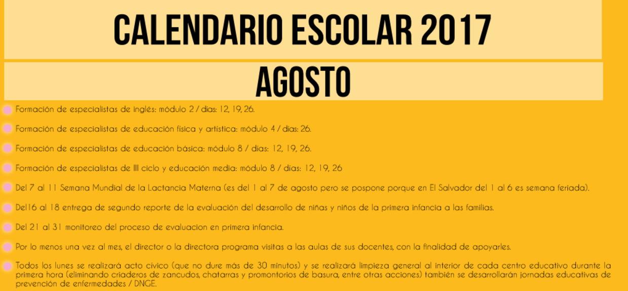 008 agosto calendario escolar 2017