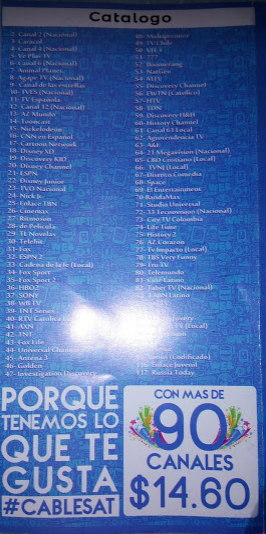 cable sat catalogo de canales