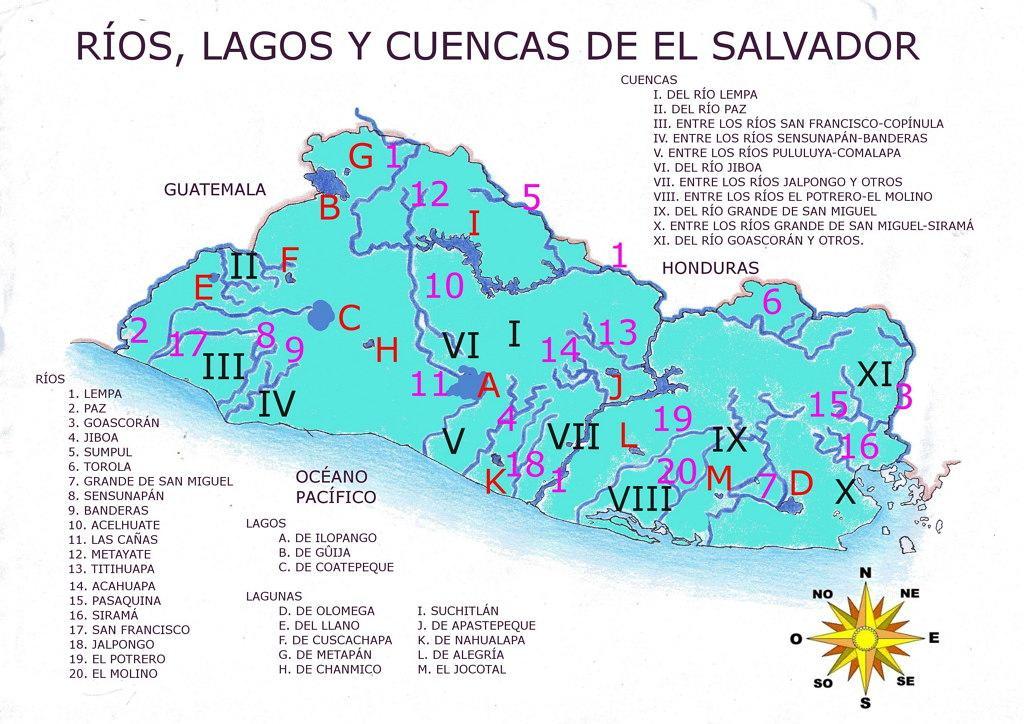 Mapa de El Salvador con sus rios y lagos
