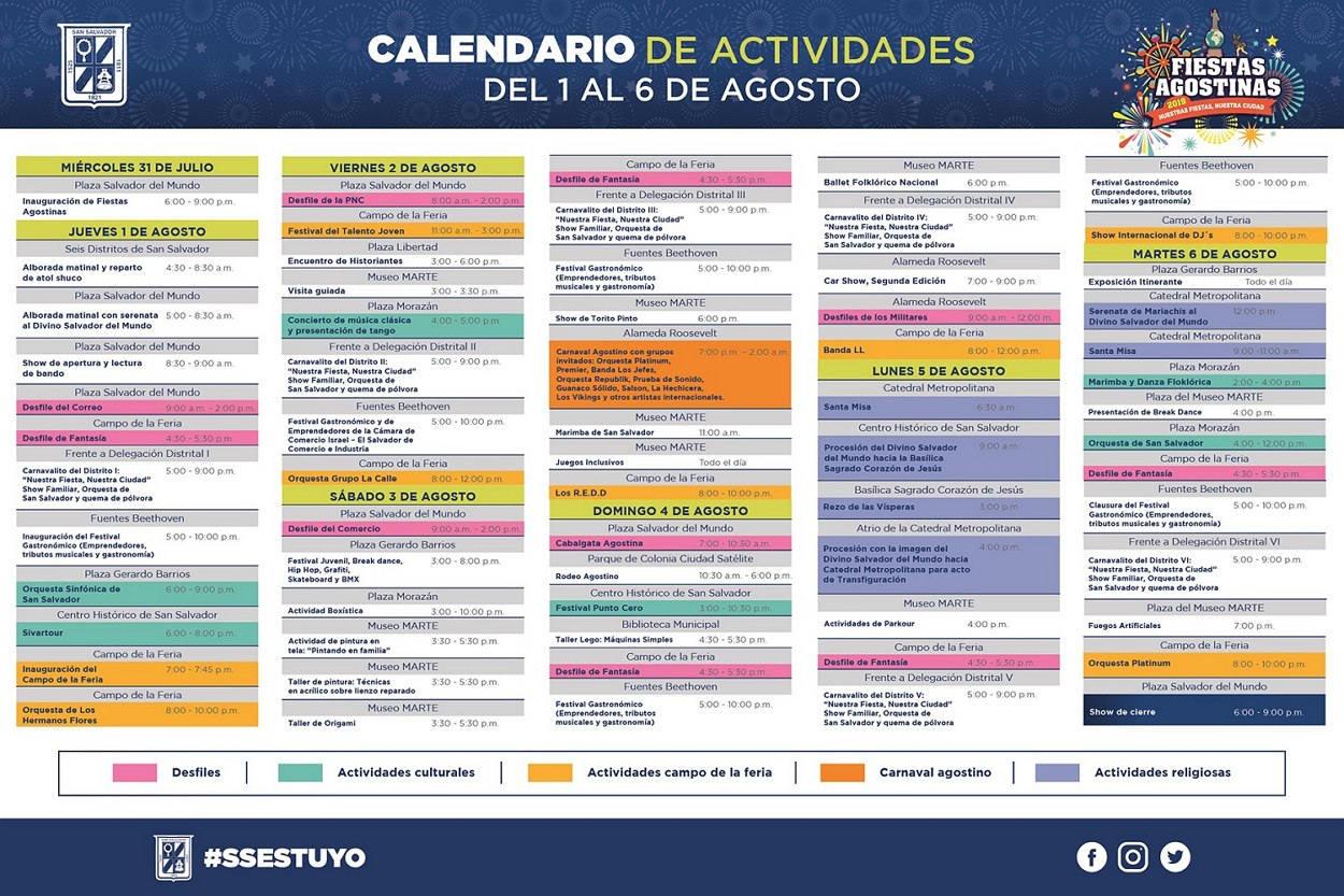 Fiestas de agosto 2019 calendario