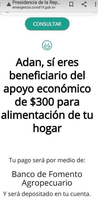 Ejemplo de persona beneficiada de ayuda d gobierno de El Salvador