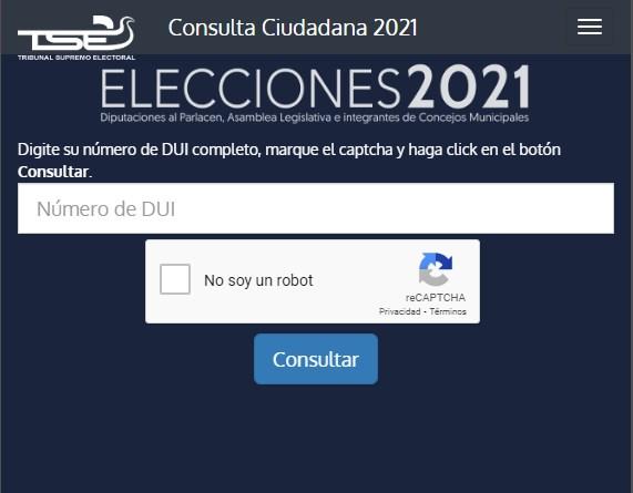 Donde me toca votar elecciones 2021 El Salvador
