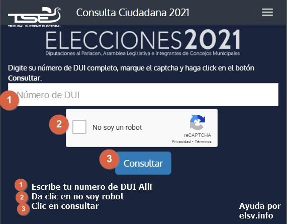 consulta donde me toca votar elecciones 2021 El Salvador