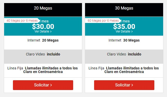 precios Fibra optica de Claro El Salvador