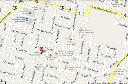 Hotel continental Santa Ana mapa