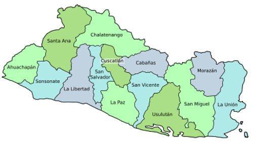 mapa de los departamentos de El Salvador