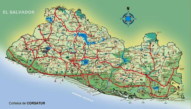 Mapa de El Salvador con municipios