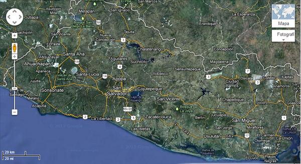 Mapa de El Salvador vista de Satelite