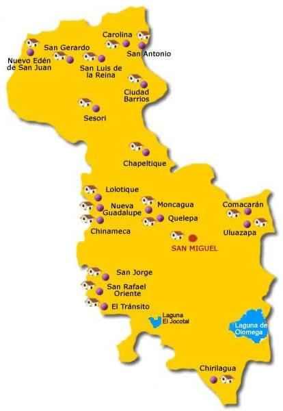 Mapa de San Miguel El Salvador