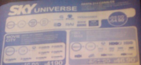 paquete universe Sky